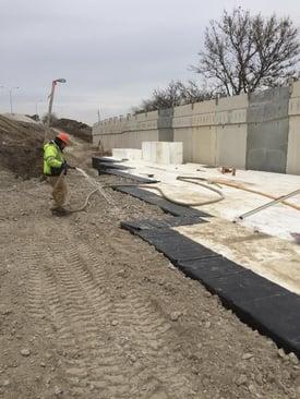 XR5 Geomembrane install over EPS geofoam